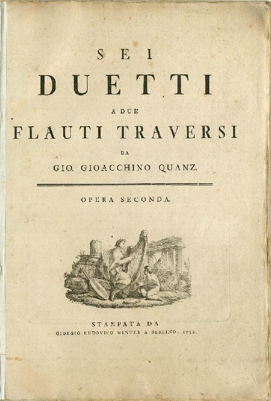 Sei Duetti a due Flauti Traversi da Gio. Gioacchino Quanz