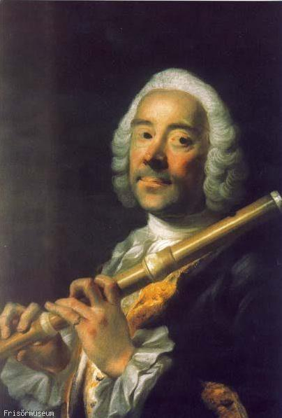 """Portrait of a flute player"" from Alexander Roslin (1718 – 1793), Bayreuth, Neues Schloß. The flute player is probably Christian Friedrich Döbbert. Source: Frisörmuseum, Eckernförde."